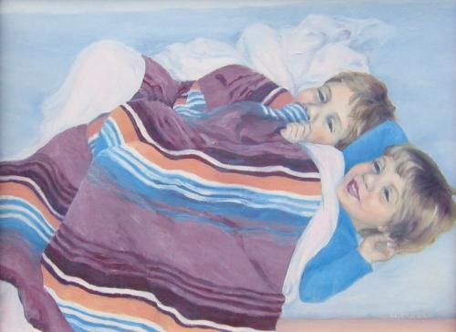 Kinderen op het bed