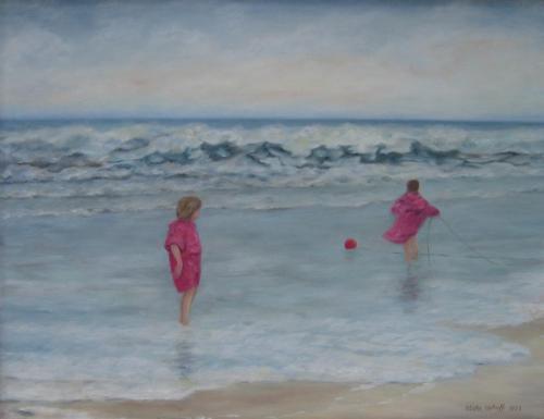 Zee met spelende kinderen